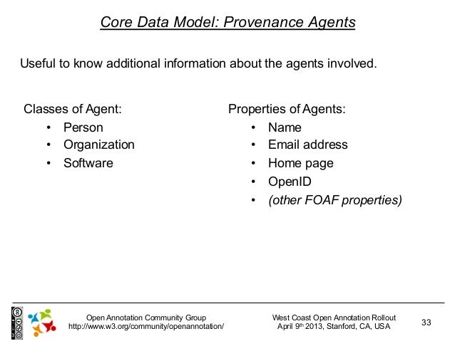 Core Data Model: Provenance AgentsUseful to know additional information about the agents involved.Classes of Agent:       ...