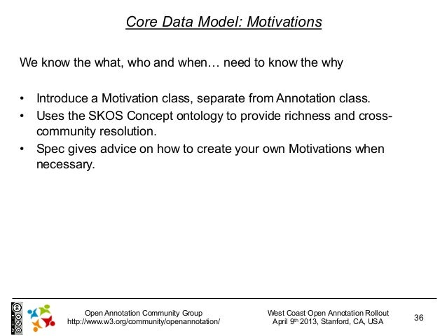 Core Data Model: MotivationsWe know the what, who and when… need to know the why• Introduce a Motivation class, separate ...