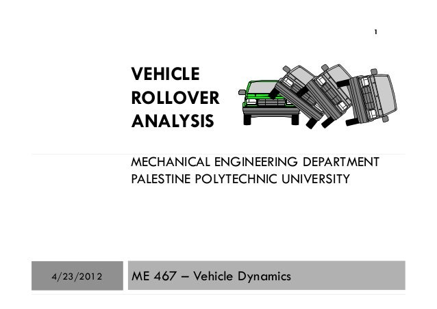 VEHICLE ROLLOVER ANALYSIS MECHANICAL ENGINEERING DEPARTMENT 1 MECHANICAL ENGINEERING DEPARTMENT PALESTINE POLYTECHNIC UNIV...