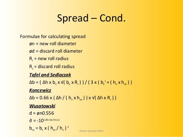 Roll pass design definitions ansar hussain rizvi 9 spread cond formulae for calculating spread n new roll diameter sciox Choice Image