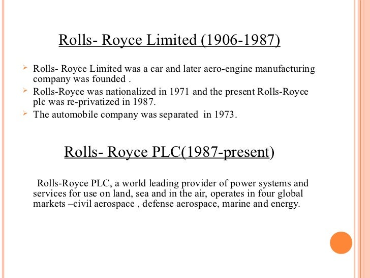 Case study 21 rollsroyce corporation for Rolls royce cover letter