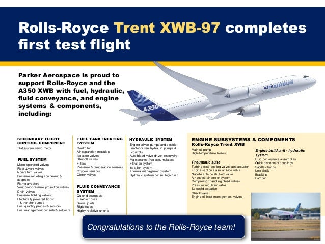Parker Aerospace is proud to support Rolls-Royce and the A350 XWB with fuel, hydraulic, fluid conveyance, and engine syste...