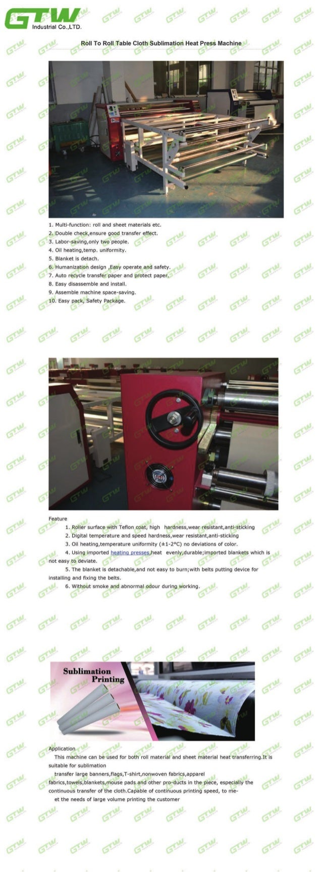 Roll to roll table cloth sublimation heat press Machine