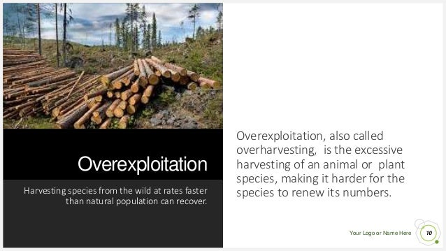 Your Logo or Name Here Overexploitation Harvesting species from the wild at rates faster than natural population can recov...