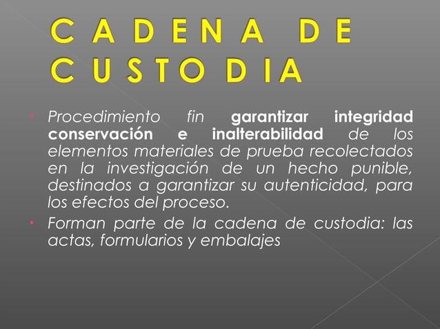  CONTROL de todas las etapas desde la recolección o incorporación de los elementos materiales, evidencias y bienes incaut...