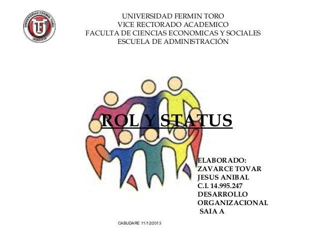 UNIVERSIDAD FERMIN TORO VICE RECTORADO ACADEMICO FACULTA DE CIENCIAS ECONOMICAS Y SOCIALES ESCUELA DE ADMINISTRACIÓN  ROL ...