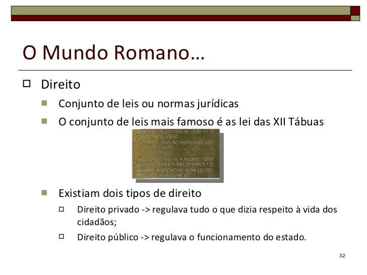 O Mundo Romano… <ul><li>Direito </li></ul><ul><ul><li>Conjunto de leis ou normas jurídicas </li></ul></ul><ul><ul><li>O co...