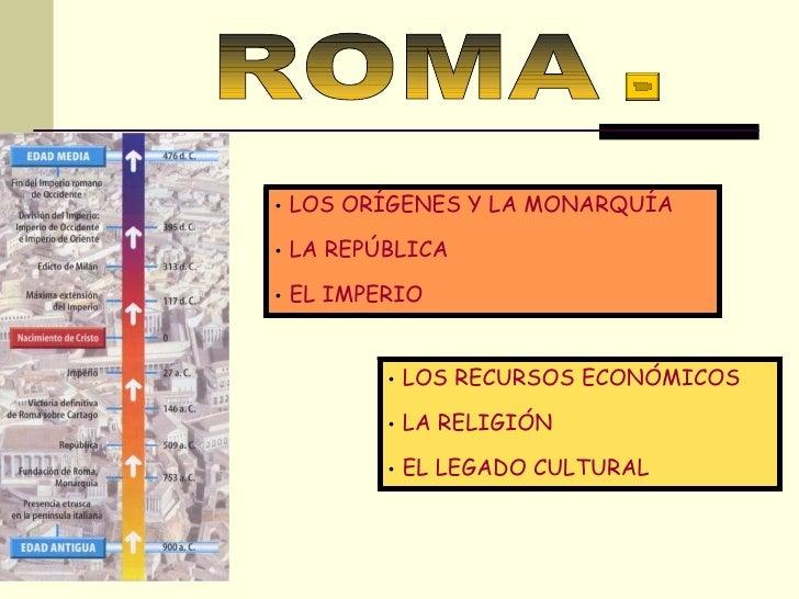 T.16-17 ROMA <ul><li>LOS ORÍGENES Y LA MONARQUÍA </li></ul><ul><li>LA REPÚBLICA  </li></ul><ul><li>EL IMPERIO </li></ul><u...