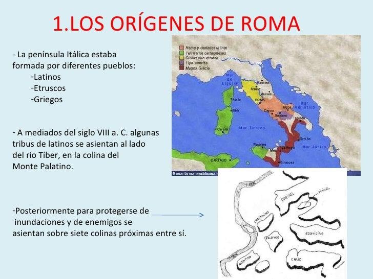 1.LOS ORÍGENES DE ROMA <ul><li>- La península Itálica estaba  </li></ul><ul><li>formada por diferentes pueblos: </li></ul>...