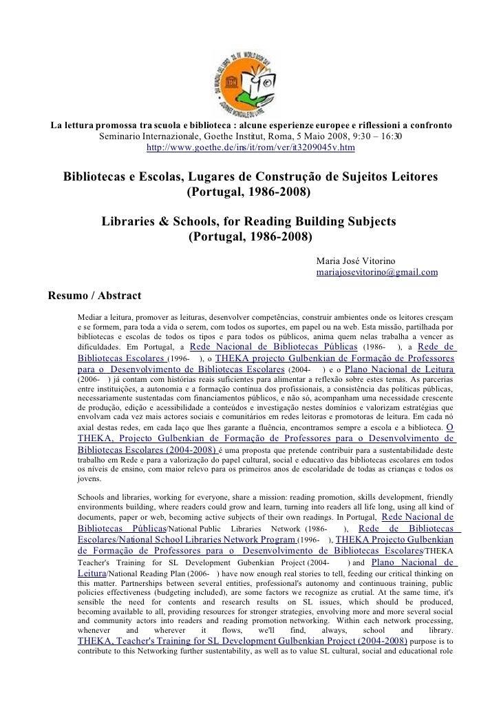 La lettura promossa tra scuola e biblioteca : alcune esperienze europee e riflessioni a confronto             Seminario In...