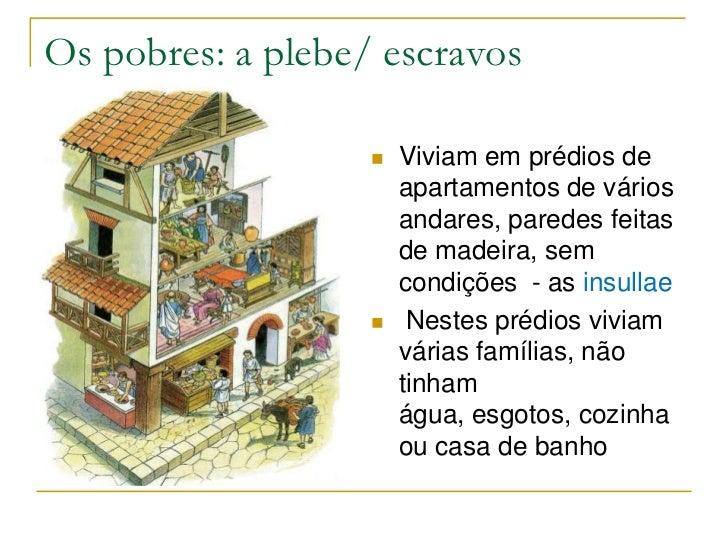Os pobres: a plebe/ escravos                      Viviam em prédios de                       apartamentos de vários      ...