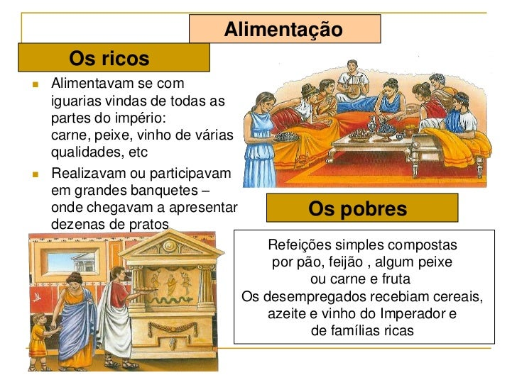 Alimentação      Os ricos   Alimentavam se com    iguarias vindas de todas as    partes do império:    carne, peixe, vinh...