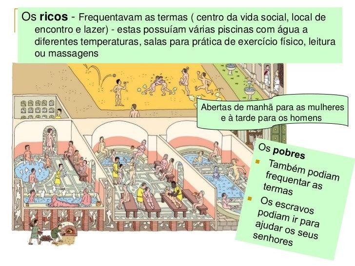 Os ricos - Frequentavam as termas ( centro da vida social, local de  encontro e lazer) - estas possuíam várias piscinas co...