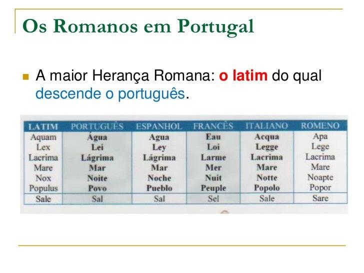 Os Romanos em Portugal   A maior Herança Romana: o latim do qual    descende o português.