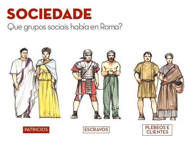 SOCIEDADE QuegrupossociaishabíaenRoma? PATRICIOS PLEBEOS E CLIENTES ESCRAVOS