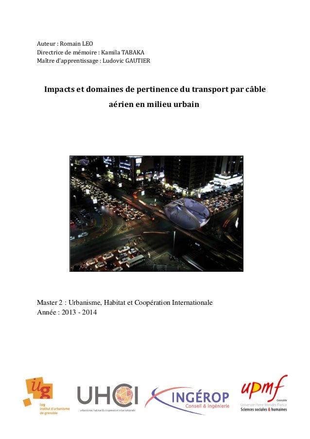 Auteur : Romain LEO Directrice de mémoire : Kamila TABAKA Maître d'apprentissage : Ludovic GAUTIER Impacts et domaines de ...