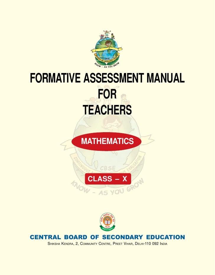 FORMATIVE ASSESSMENT MANUAL             FOR          TEACHERS                       MATHEMATICS                           ...