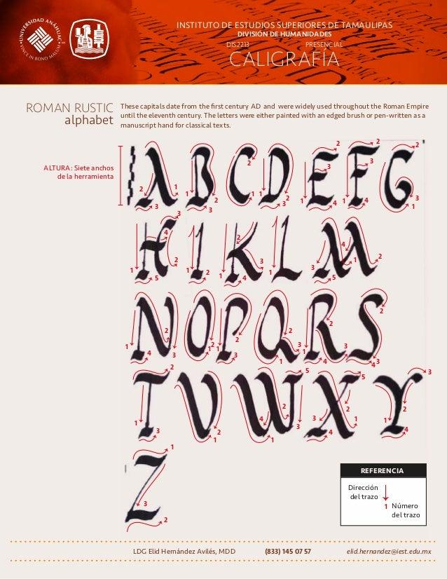 CALIGRAFÍA INSTITUTO DE ESTUDIOS SUPERIORES DE TAMAULIPAS DIVISIÓN DE HUMANIDADES DIS2213 PRESENCIAL ROMAN RUSTIC alphabet...