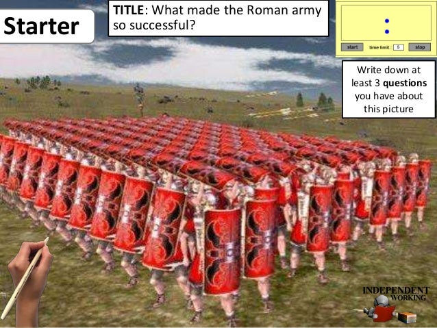 Starter TITLE: What made the Roman army so successful? Write down at least 3 questions you have about this picture