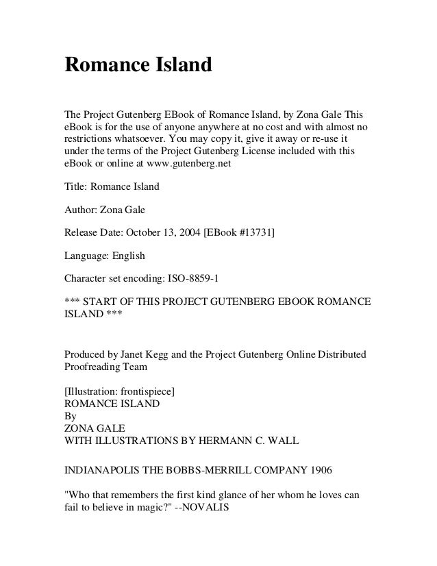 Romance IslandThe Project Gutenberg EBook of Romance Island, by Zona Gale ThiseBook is for the use of anyone anywhere at n...