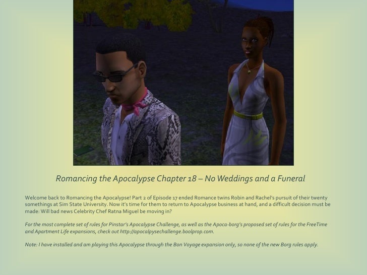 Romancing the Apocalypse Chapter 18 – No Weddings and a FuneralWelcome back to Romancing the Apocalypse! Part 2 of Episode...