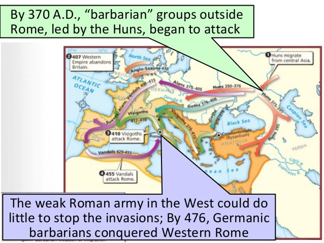 an analysis of the reason for the downfall of the western roman empire Some of the reasons that historians give for the fall of the western roman empire include barbarian migration and invasion, economic problems, the growing power of.