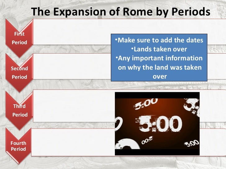 The Expansion of Rome by Periods                       •Make sure to add the dates                            •Lands taken...