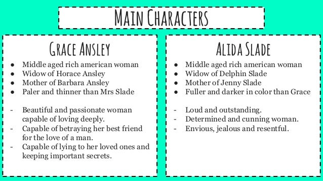contrast the characters of alida slade and grace ansley in roman fever Edith wharton's roman fever roman fever by edith wharton  alida slade and grace ansley are the primary  tyrancy focused on how characters provided to.