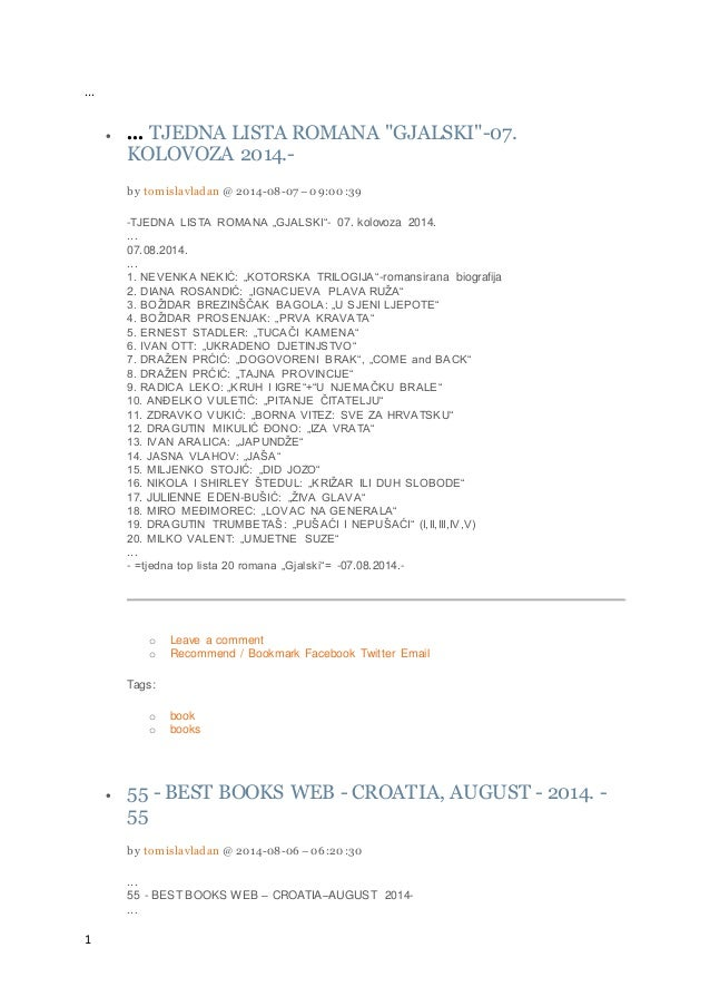 """1 ...  ... TJEDNA LISTA ROMANA """"GJALSKI""""-07. KOLOVOZA 2014.- by tomislavladan @ 2014-08-07 –09:00:39 -TJEDNA LISTA ROMANA..."""