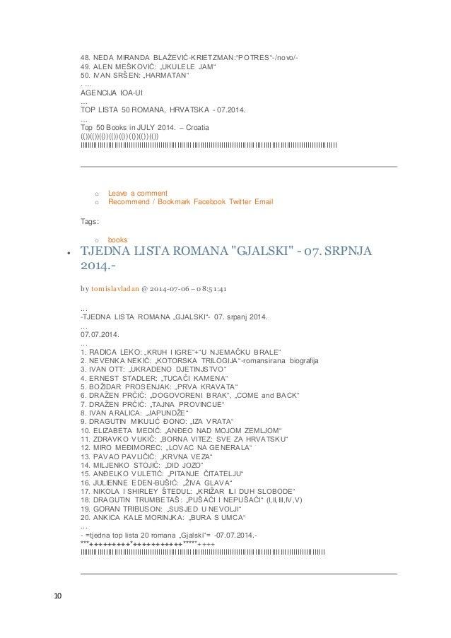 "10 48. NEDA MIRANDA BLAŽEVIĆ-KRIETZMAN:""POTRES""-/novo/- 49. ALEN MEŠKOVIĆ: ""UKULELE JAM"" 50. IVAN SRŠEN: ""HARMATAN"" . … AG..."