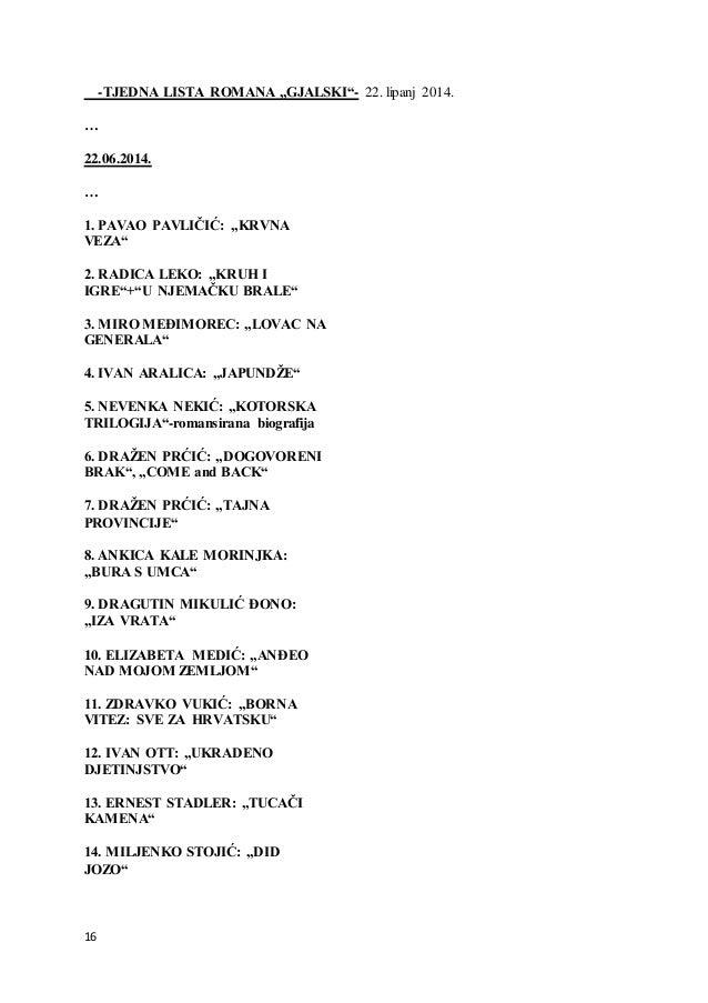 """16 -TJEDNA LISTA ROMANA """"GJALSKI""""- 22. lipanj 2014. … 22.06.2014. … 1. PAVAO PAVLIČIĆ: """"KRVNA VEZA"""" 2. RADICA LEKO: """"KRUH ..."""
