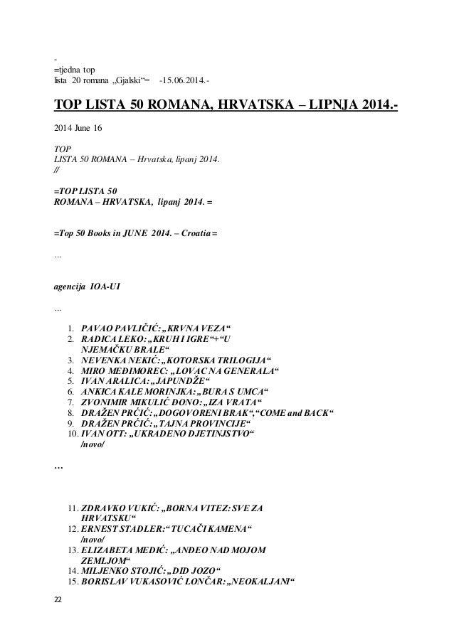 "22 - =tjedna top lista 20 romana ""Gjalski""= -15.06.2014.- TOP LISTA 50 ROMANA, HRVATSKA – LIPNJA 2014.- 2014 June 16 TOP L..."