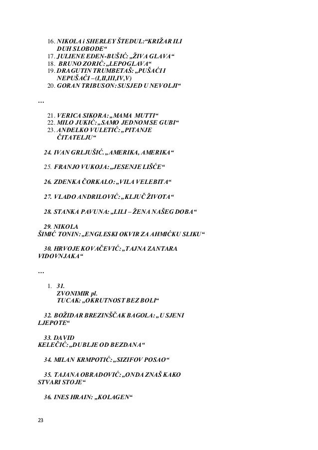 "23 16. NIKOLA i SHERLEY ŠTEDUL:""KRIŽAR ILI DUH SLOBODE"" 17. JULIENE EDEN-BUŠIĆ: ""ŽIVA GLAVA"" 18. BRUNO ZORIĆ: ""LEPOGLAVA"" ..."