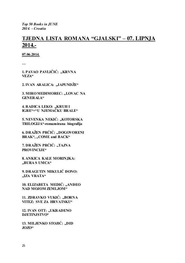 """25 Top 50 Books in JUNE 2014. – Croatia TJEDNA LISTA ROMANA """"GJALSKI"""" – 07. LIPNJA 2014.- 07.06.2014. … 1. PAVAO PAVLIČIĆ:..."""