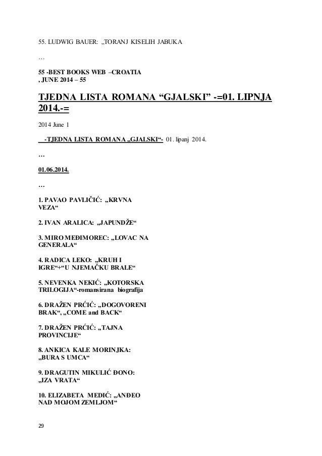 "29 55. LUDWIG BAUER: ""TORANJ KISELIH JABUKA … 55 -BEST BOOKS WEB –CROATIA , JUNE 2014 – 55 TJEDNA LISTA ROMANA ""GJALSKI"" -..."