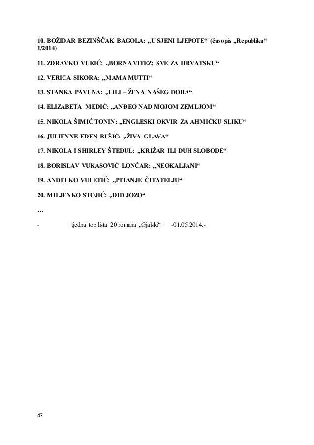 """47 10. BOŽIDAR BEZINŠČAK BAGOLA: """"U SJENI LJEPOTE"""" (časopis """"Republika"""" 1/2014) 11. ZDRAVKO VUKIĆ: """"BORNA VITEZ: SVE ZA HR..."""