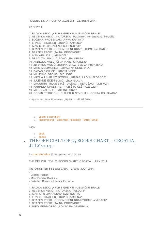 """6 -TJEDNA LISTA ROMANA """"GJALSKI""""- 22. srpanj 2014. ... 22.07.2014. ... 1. RADICA LEKO: """"KRUH I IGRE""""+""""U NJEMAČKU BRALE"""" 2...."""