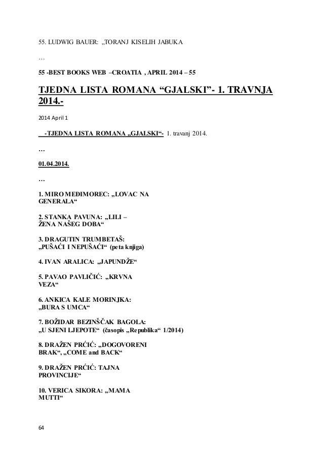 "64 55. LUDWIG BAUER: ""TORANJ KISELIH JABUKA … 55 -BEST BOOKS WEB –CROATIA , APRIL 2014 – 55 TJEDNA LISTA ROMANA ""GJALSKI""-..."