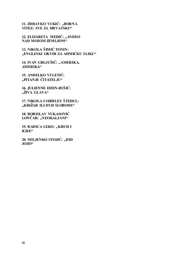 "65 11. ZDRAVKO VUKIĆ: ""BORNA VITEZ: SVE ZA HRVATSKU"" 12. ELIZABETA MEDIĆ: ""ANĐEO NAD MOJOM ZEMLJOM"" 13. NIKOLA ŠIMIĆ TONIN..."