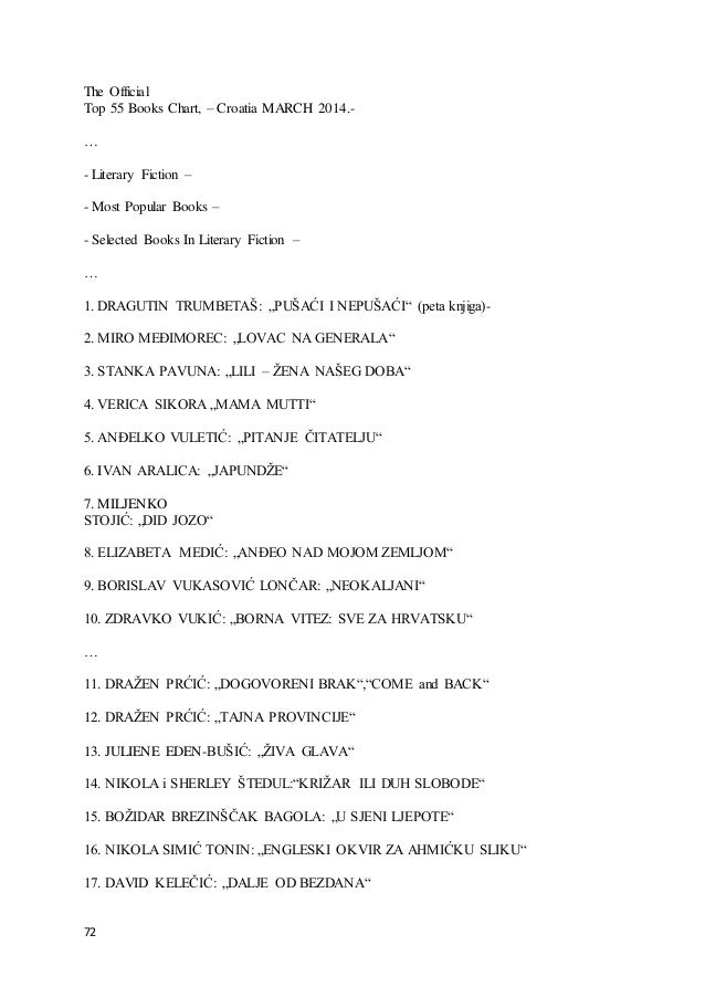 72 The Official Top 55 Books Chart, – Croatia MARCH 2014.- … - Literary Fiction – - Most Popular Books – - Selected Books ...