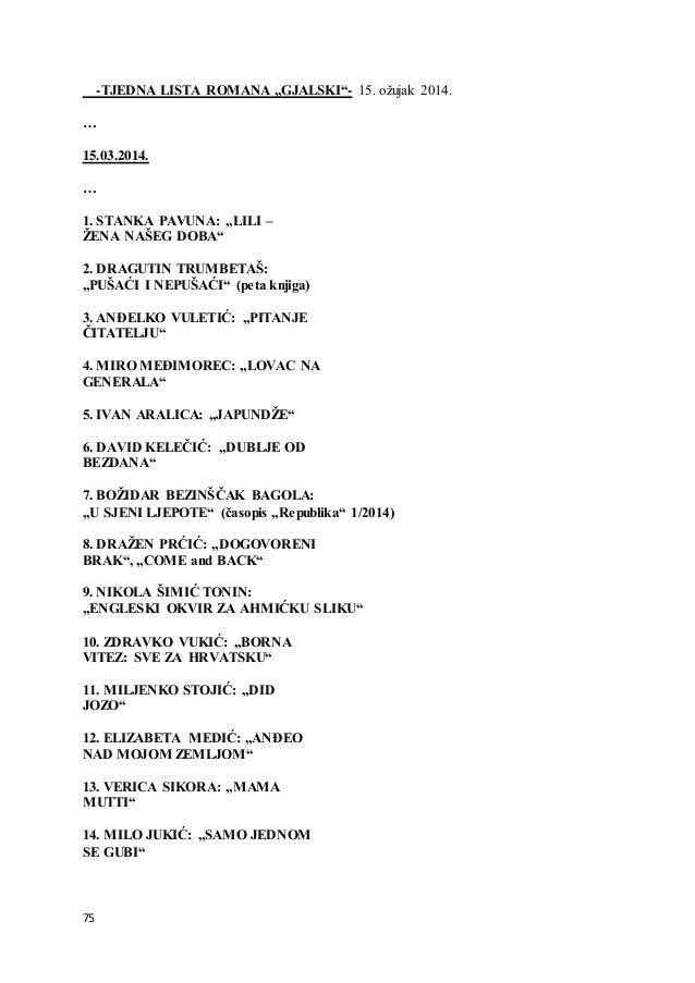 """75 -TJEDNA LISTA ROMANA """"GJALSKI""""- 15. ožujak 2014. … 15.03.2014. … 1. STANKA PAVUNA: """"LILI – ŽENA NAŠEG DOBA"""" 2. DRAGUTIN..."""
