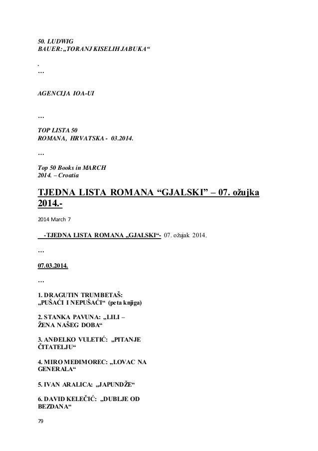 "79 50. LUDWIG BAUER: ""TORANJ KISELIH JABUKA"" . … AGENCIJA IOA-UI … TOP LISTA 50 ROMANA, HRVATSKA - 03.2014. … Top 50 Books..."