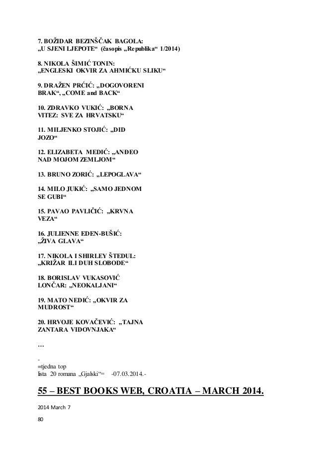 """80 7. BOŽIDAR BEZINŠČAK BAGOLA: """"U SJENI LJEPOTE"""" (časopis """"Republika"""" 1/2014) 8. NIKOLA ŠIMIĆ TONIN: """"ENGLESKI OKVIR ZA A..."""