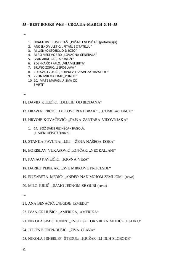 "81 55 – BEST BOOKS WEB – CROATIA–MARCH 2014- 55 … 1. DRAGUTIN TRUMBETAŠ: ""PUŠAĆII NEPUŠAĆI(petaknjiga) 2. ANĐELKOVULETIĆ: ..."