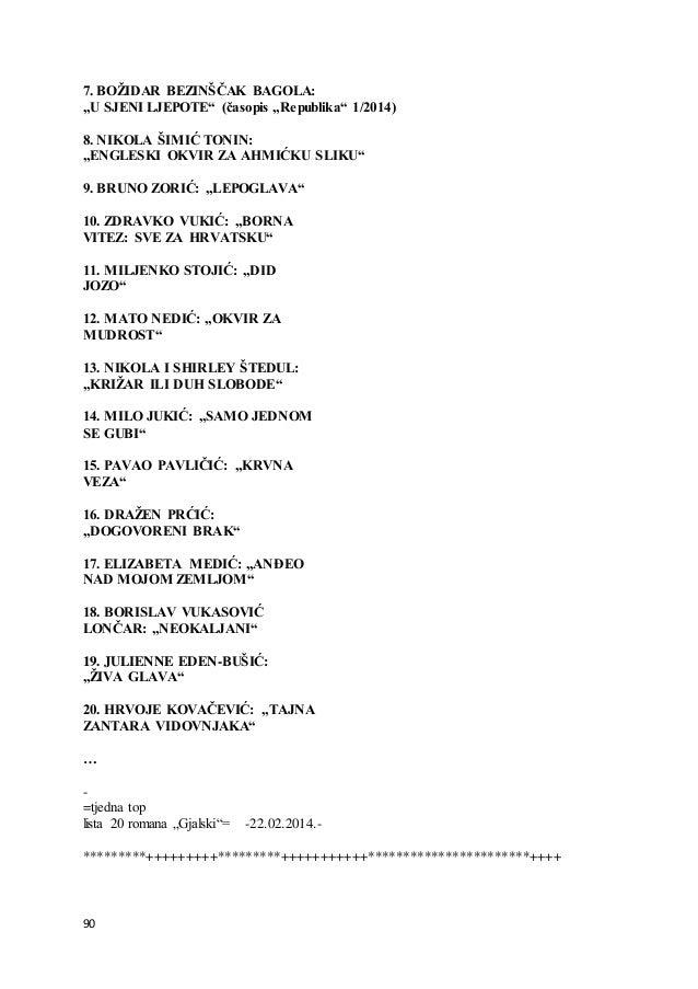 """90 7. BOŽIDAR BEZINŠČAK BAGOLA: """"U SJENI LJEPOTE"""" (časopis """"Republika"""" 1/2014) 8. NIKOLA ŠIMIĆ TONIN: """"ENGLESKI OKVIR ZA A..."""