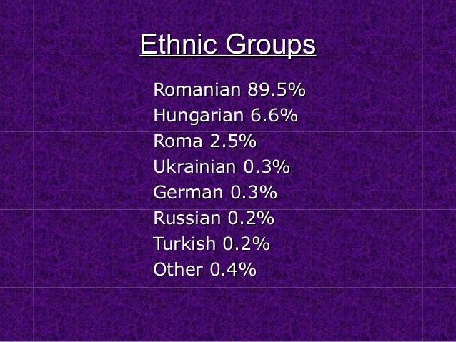Ethnic Groups Romanian 89.5% Hungarian 6.6% Roma 2.5% Ukrainian 0.3% German 0.3% Russian 0.2% Turkish 0.2% Other 0.4%