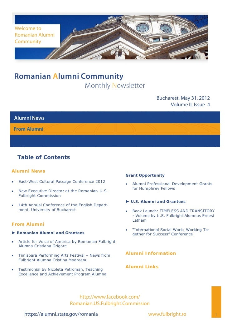 Welcome to     Romanian Alumni     Community Romanian Alumni Community                                        Monthly News...