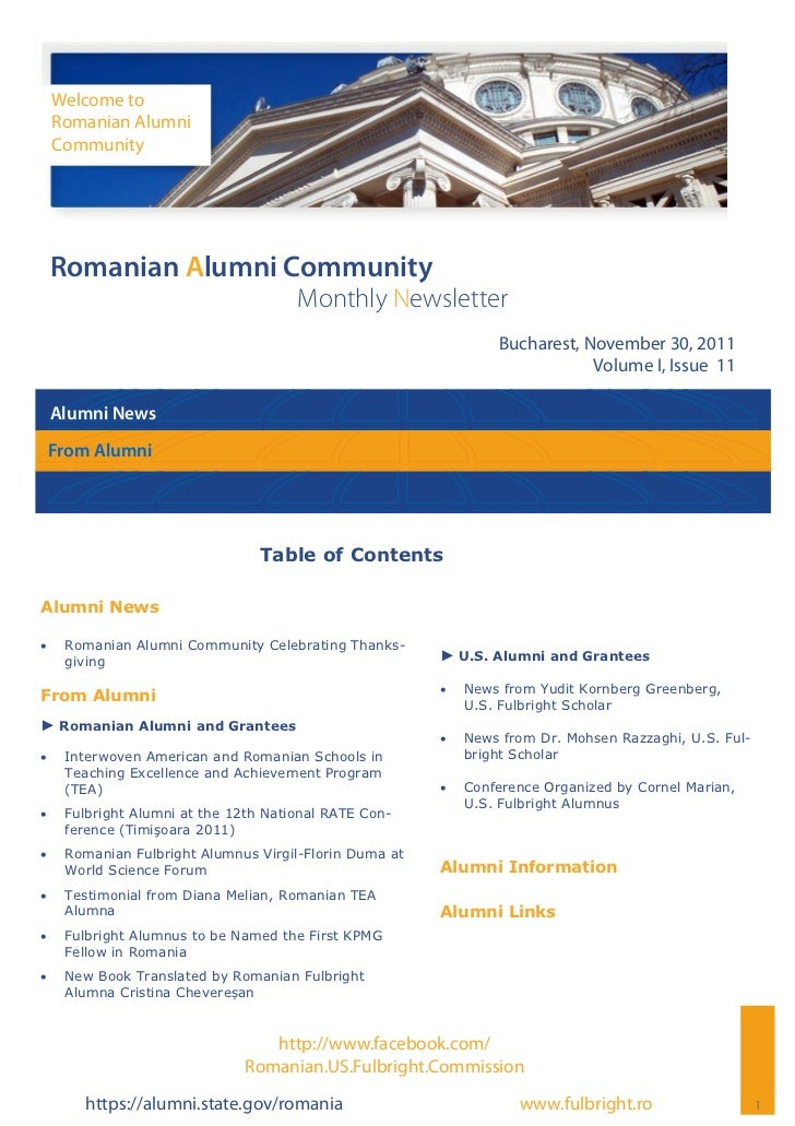 Welcome to     Romanian Alumni     Community Romanian Alumni Community                                       Monthly Newsl...