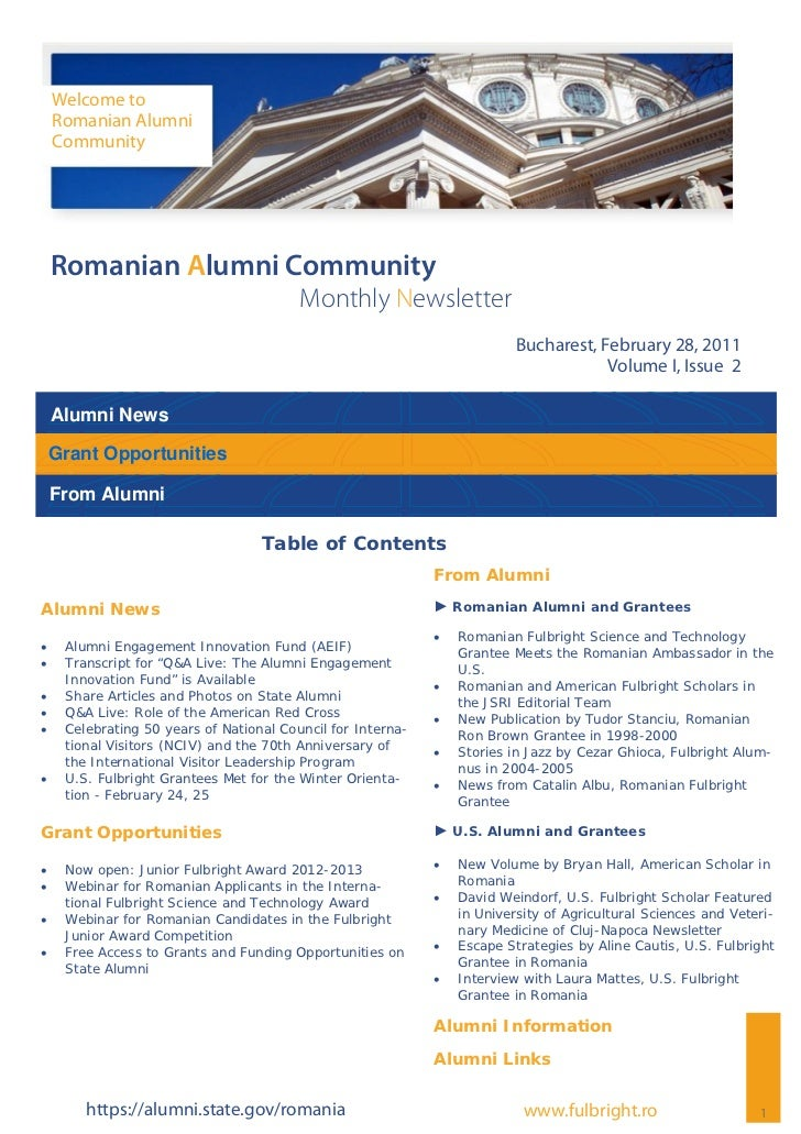 Welcome to     Romanian Alumni     Community Romanian Alumni Community                                          Monthly Ne...