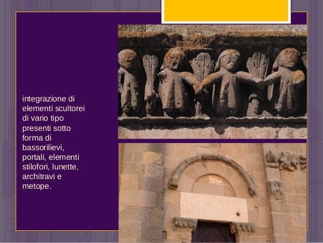 integrazione di elementi scultorei di vario tipo presenti sotto forma di bassorilievi, portali, elementi stilofori, lunett...
